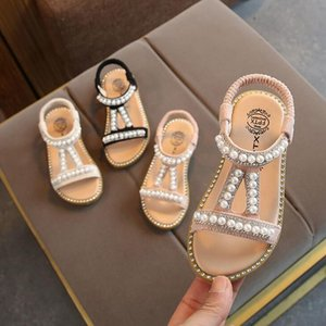 2020 New Children Summer Baby Toddler Little Girls Sandals Pink Gold Silver Princess Shoes For Kids Girls Rhinestone Sandals T200530