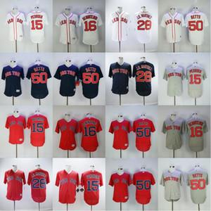 2018 Style de 28 JD Martinez Jersey Baseball 50 Mookie Betts 15 Dustin Pedroia 16 Andrew Benintendi Rouge Blanc Gris Bleu Marine Discount pas cher