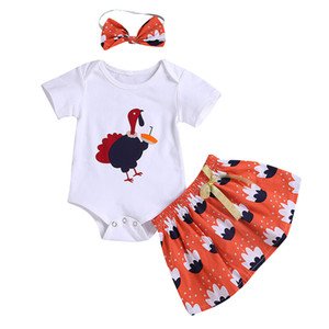 Thanksgiving Baby girls boys outfits children Turkey Print romper+skirts with headbands 3pcs set Boutique kids Clothing Sets C544