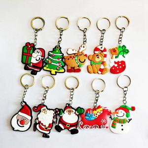 5 cm / 2inches Noel Baba anahtar Zincirler Noel Hediyesi Yumuşak Pvc Anahtarlık Çocuk Oyuncakları Noel ağacı Süsler Parti Favor RRA2360 10 stilleri