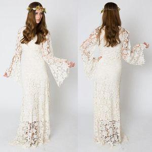 Vintage Bohemian Gelinlik 2019 Çan Kol Dantel Tığ Hippie Boho Işlemeli Maxi Dantel Düğün Gelin Elbise