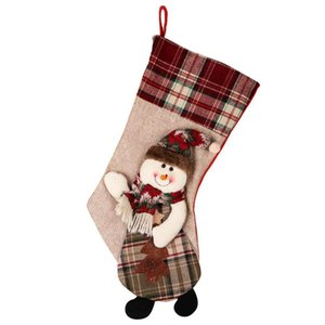 Large Christmas Stocking Sock Plaid Gift Holder Christmas Tree Decoration New Year Gift Candy Bags