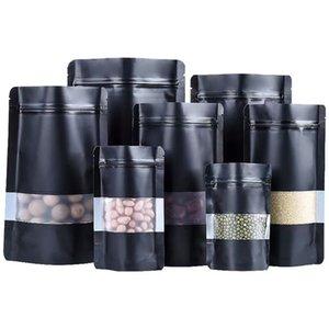 Siyah 100 adet Tüm Boyutları Mat Ayakta Up Paketleme Çanta Temizle Pencere Kuru Gıda Depolama Paketi Torbalar Alüminyum Folyo Ambalaj Çantası Doypack