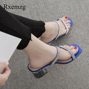 Rxemzg novas chegadas mulheres chinelos escorregas moda verão strass mulas exteriores baixas saltos sandálias das senhoras chinelos salto quadrados