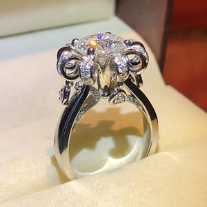خواتم العنقودية كينيل أزياء الزفاف خاتم الزواج الأميرة قطع 1 ct الأبيض الزركون الاشتباك 925 فضة حزب مجوهرات الكريستال