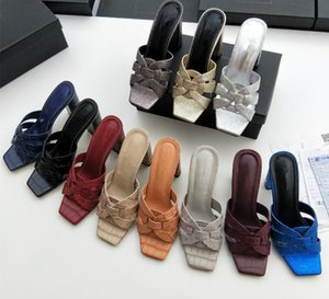 Sıcak Sale-2019 sıcak yeni kadın ayakkabı, lüks ayakkabı, tasarımcı Tribute Patent Deri Yaz Sandalet Crossover Katır Kadınlar Yüksek topuklu sandalet 35-41