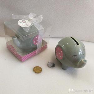 Baby Shower Party Return Gifts Souvenirs Ceramic Pink Blue Elephant Piggy Bank Coin box 100pcs wholesale