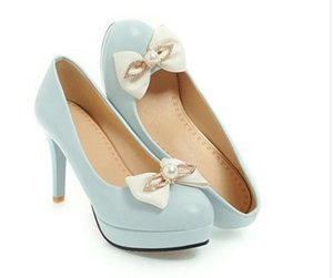 2020 Spring and Autumn with New style fashion High heel fine heel round head bowknot waterproof table Women's shoes@QWER