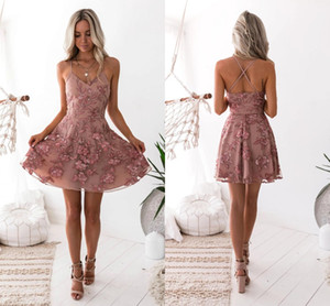 Dusty Pink Lace Appliqued Short Cocktail Dresses Sexy Spaghetti Open Back Mini Homecoming Prom Party Gown BC0121