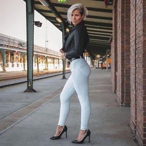 Melody cuatro maneras estirable flaco talle normal en tejido técnico estiramiento Blanco atractivo pantalones de las mujeres