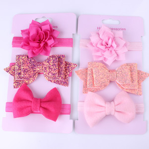 2020 Baby Accessories 3Pcs set Baby Girls Boys Headbands Toddler Hair Band Solid Newborn Bow Headwear Photo Props Kids