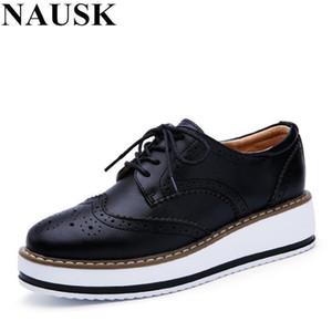 NAUSK 2018 zapatos de plataforma de las mujeres del resorte del cuero de zapatos Mujer Patente Brogue Pisos ata para arriba el calzado femenino plana Oxford