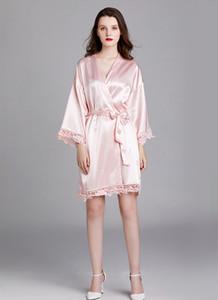 Mulheres Pluse Tamanho Silk Pijamas Robes Primavera-Verão Designer Lace oco Out Bandage Pijamas fêmeas moda íntima Casual
