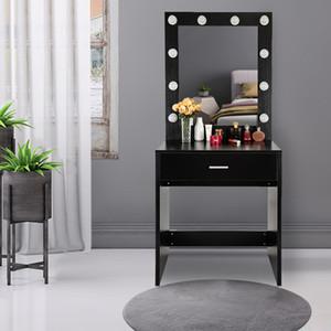 Makeup Vanity penteadeira set Desk para o quarto w / Stool + 10 Lâmpadas LED Vanity Luzes Preto