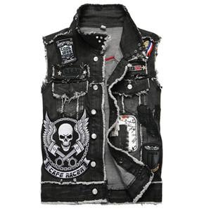 XIU LUO 3XL Designer Punk Biker Mens Jean Vest Skull Cowboy Raffreddare Estate Gilet senza maniche cappotto Automotive Vest 2019