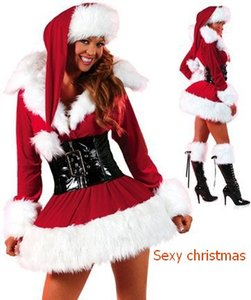 Hot Sell Mascot Costumes Christmas Clothing Womens Christmas Dress Red Long Sleeve Fur Skirt Hot Styles DHL free shipping