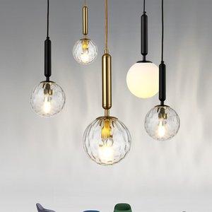 Bola de vidro Nordic preto do ouro criativa luminária Home Lighting cabeceira quarto Decor Chandelier PA0653