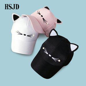 Snapback de los oídos de gato gorras 2018 Marca encantador del gorra de regalo ajustable niña de malla rosa Adult Net gorra de béisbol de verano para mujeres