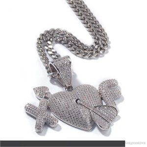 2 Letters Heart Custom Lover Couple Pendants Necklace Hip Hop CZ Stone Bling Iced Out Men Hip Hop Rapper Jewelry Silver