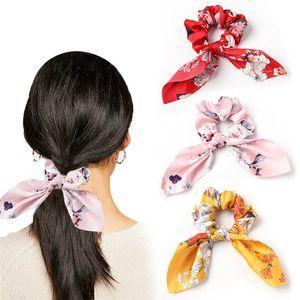 2020 NOVO Mulheres flâmulas Scrunchies Floral Imprimir Satin Hair Elastic Rope menina arco de cabelo gravata doce Cabelo Acessórios Headwear