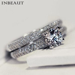 INBEAUT New Arrival Engagement Ring Set Sparkling Brilliant Cut 16 Arrows&Heart Zircon Rings for Women Classic Jewelry 2 Color