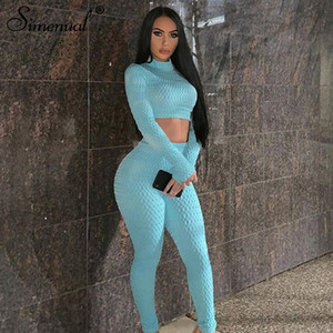 Simenual Fitness sport Push Up Dînette Skinny Jeux Femmes Mode Workout Casual Survêtements Top à manches longues et pantalon Set Y200110