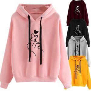 Sweat à capuche Femmes Pink Ladies Oversize Hoodies Casual Kpop Finger Heart Love Motif Sweat à capuche Polerones Mujer