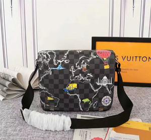 # 7801 bolsas de hombro N40238 clásico 5A tela escocesa paquete de L hombres de moda de cuero de Crossbody del cartero V al aire libre Mujeres Cruz Body Bag