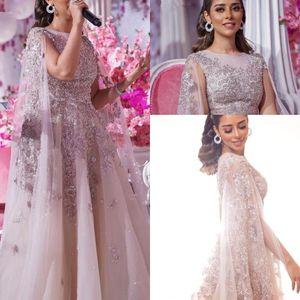 2020 Arapça Abiye Giyim Capped Dubai Tül Dantel Aplike Şık Balo Parti Formal Elbise Artı boyutu Özel Durum Elbise