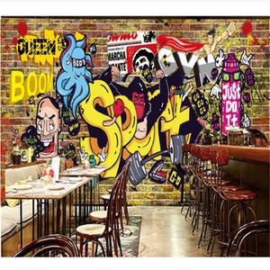 Ретро Ностальгический Кирпичная стена граффити Живопись Фото Обои 3D Gym Промышленный декор фона Обоев 3D Papel De Parede