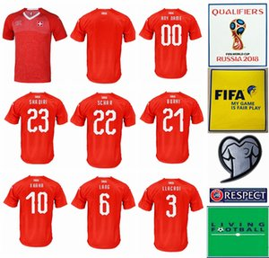 2018 WorldCup Швейцария футбол Джерси Mens 9 Сеферович 8 Freuler 23 Шакири 6 LANG 7 EMBOLO 11 Behrami Швейцарские Red маек