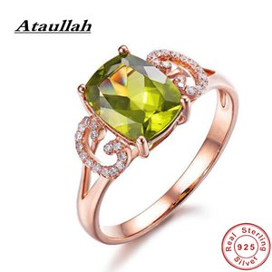 Ataullah New Arrival Artificial Peridot Gemstone Rings Sterling 925 Silver Wedding Ring Diamond Jewelry for Woman Gift RW116