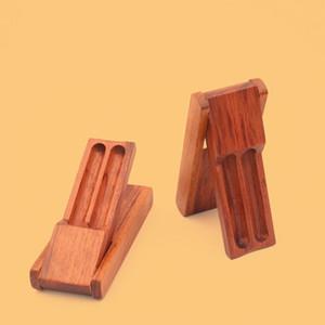Новейший портативный дисплей Показать Base Деревянные сигаретам Double Tube Box хранения Табак Сигарета Preroll прокатный валок Handroller Шкатулка Container