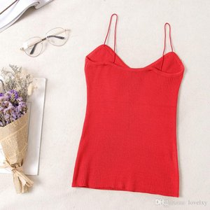 Sling ladies vest knit bottoming shirt Slim solid color ladies tank vertical 0sexy thin slim sling 2019 new high quality hot sale IGU23