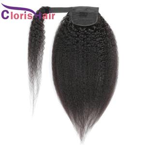 Kinky Straight PonyTails 100% brasileño Virgin Human Hair Wrap Around Clip en extensiones para mujeres negras Black Yaki Yaki Real Pony Tail 100g