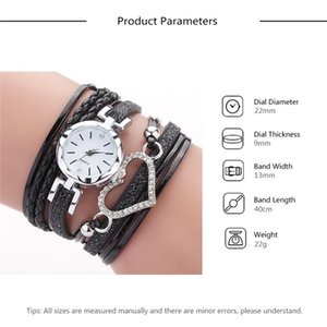6 color ladies Love Heart watch Crystal bracelet leather watches small dial dress quartz wrist watches gift watch jewelry Wholesale BJJ215