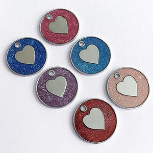 1Pcs Lovely Heart Fish Bone Pattern Cat ID Tag Necklace Decorative ID Pendant Metal Pet Dogs Collar Accessories