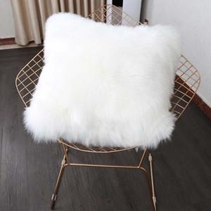 40/45 / 50cm Pure White / grey Coussin Cover One Side fausse fourrure décorative Throw Taie d'oreiller Carré En Peluche Pour La Maison Canapé Décor Y19062803