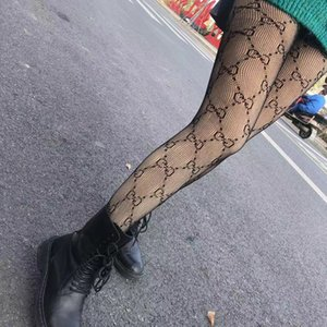 Strümpfe 2020 Ms Persönlichkeit Trend ultradünne Buchstabedrucken Net Socken Art und Weise reizvoller Anti-Haken Draht Strumpfhosen neuen Stil