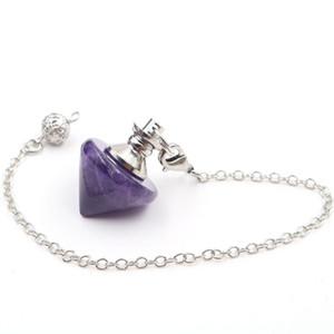 10 Pcs Cone na moda Forma Lapis Lazuli Pendulum para Cadeia Dowsing Pendant Fazer a ligação Preto jóias de ágata