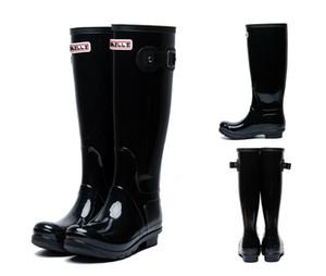 Sıcak Satış-erkek moda Diz-yüksek boylu yağmur botları İngiltere tarzı su geçirmez welly çizmeler Lastik su ayakkabı rainshoes rainboots
