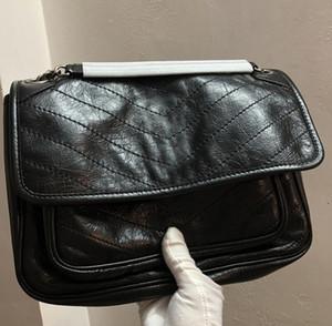 Borse a tracolla della progettista delle donne di alta qualità borse a catena del metallo nero Borse di borsa universali nere del sacchetto delle borse del cuoio delle borse di cuoio pure 3831