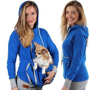 Conception fraîche à manches longues Sweat-shirts Femmes Sweats à capuche Pet Holder beau chat chien kangourou Pull Pouch Carriers Manteau Costume