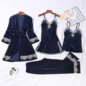 4 Pieces Velvet Warm Pajamas Set Women Sexy Lace Sleepwear Pajamas Suit Winter Sling Nightdress Woman Nightwear