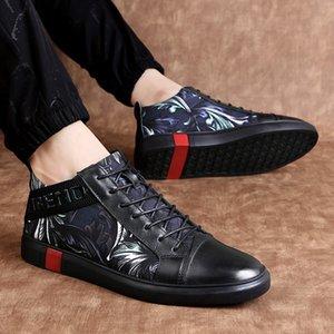 Hot Men Casual Schwarz-echtes Leder-Turnschuh-Mann-Schuhe Schuhe De Hombre Casuales Cuero High Top Chaussure Homme Cuir Herbst-Winter