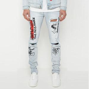 Hommes Jeans Trou Distrressed été New Graffiti stretch Slim Denim Pantalon européen et américain style Hot Vente