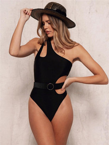 Parça mayo moda doğal renk mayo seksi bir omuz mayo oymak kadın giyim kadın tasarımcı bir
