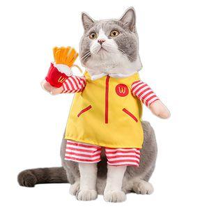 ازياء مضحك الحيوانات الأليفة النادل تأثيري لعب دور البدلة الملابس هالوين عيد الميلاد الملابس لجرو كلاب زي لقطة