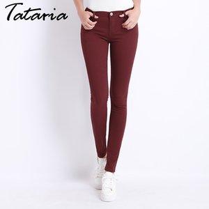 Jeans Mujer Vaqueros para mujer del color del caramelo los pantalones vaqueros Donna Stretch Pantalones flacos de las Femenino de mujeres Pantalones 2017 Tataria