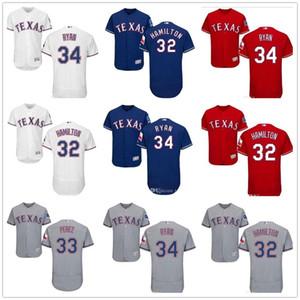 Personalizado Homens Mulheres Juventude Jersey # 32 Josh Hamilton 33 Azul Martin Perez 34 Nolan Ryan Red Baseball Jerseys Atacado